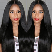 Cupidlovehair 6A Virgin Hair Lace Front Wig Brazilian Remy Human Hair Straight Hair Lace Wigs with Baby Hair For African Americans 130% Density Naturl Colour 36cm