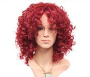 Fake hair fluffy wine red fashion wig