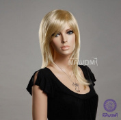 AABABUY New Golden Wig Medium long straight Wig Europe lady straight wig Synthetic Wig