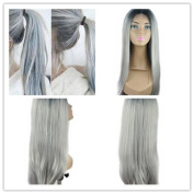 Front Lace Wig Synthetic Straight Heat Resistant Wig Free Part Ombre Black Rooted Silver Grey High Density for Women