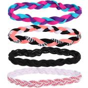 kilofly 4pc Girls Nonslip Grip Braided Headbands Teens Sports Hair Elastic Bands