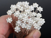 Moeni Bridal Wedding Prom Faux Small Pearl Rhinestone Crystal Flower Hair Styling U Pins 30 pcs