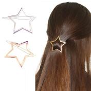 Happy Hours - Stylish Hollow Star Decor Hair Pins / Kids Teen Girls Women Wedding Bridesmaids Bridal Ornament / Bling Hair Clip Clamps Barrettes Headwear