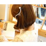 Joyci 1pcs Extravagants Large Diamond Hairpin Spring Clip Ponytail Big Pearl Hair Clip