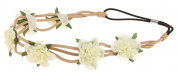 Capelli New York Ladies Flowers and Faux Suede Headwrap Ivory One Size