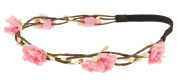 Capelli New York Ladies Flowers and Wire Branches Headwrap Pink One Size