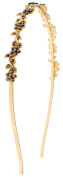 Capelli New York Ladies Metal & Gem Flowers Headband Gold Combo One Size