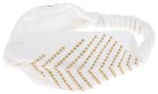 Capelli New York Ladies Chevron Heat Print with Set Studs Head Wrap White One Size