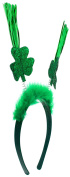 Capelli New York Ladies Glitter Clover and Tinsel Headband Green One Size