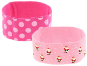 Capelli New York Ladies Santa Claus & Polka Dot Stretch Head Wrap Pink One Size