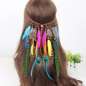 Festival Feather Headband Hippie Headdress Hair Accessories Boho Peacock Feather Headdress