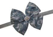 WD2U Denim & Pearls Boutique Hair Bow with Silver Scroll Accent Stretch Headband