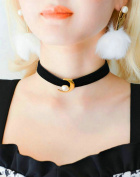 Aukmla Choker Necklace with Moon Pendant for Women and Girls