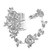 WINOMO Charming Women's Bridal Wedding Crystal Rhinestones Rose Pearl Decor Hair Comb Clip Hair Pin Hair Accesories