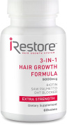 iRestore 3-in-1 Hair Growth Supplement with Biotin, DHT Blocker, Saw Palmetto, and Other Extracts - 60 Count
