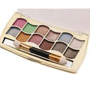 Kwok Eyeshadow,12 Colours Women Pro Eyeshadow Shimmer Palette & Cosmetic Brush Makeup Set
