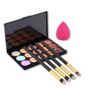 Fheaven 15 Colours Contour Concealer Palette + 4pcs Powder Brushes +Sponge Blender