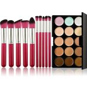Fheaven 10pcs Makeup Brushes Set Powder Foundation Eyeshadow Tool+Professional 15 Colour Concealer Camouflage Contour Eye Face Cream Makeup Palette