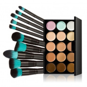 Fheaven 10pcs Makeup Brushes Set Powder Foundation Eyeshadow Tool +15 Colours Concealer