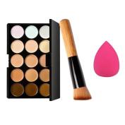 Fheaven 15 Colours Makeup Concealer Contour Palette + Water Sponge Puff + Makeup Brush