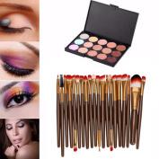 Fheaven 15 Colours Contour Face Cream Makeup Concealer Palette Professional + 20 Brush