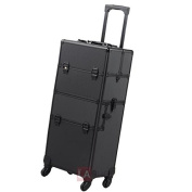 4-Wheel 2-In-1 Makeup Cosmetic Train Rolling Case