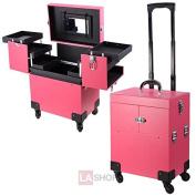 """14x 9"""" x 43cm Pink PVC Rolling Makeup Train Case w/ Wheels"""