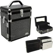 Professional Aluminium Black Makeup Cosmetic Beauty Organiser Storage Case Box Mirror