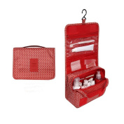 EtechMart Hanging Cosmetic Makeup Bag Carry Case Travel Kit Red