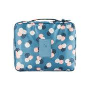 EtechMart Nylon Floral Cosmetic Makeup Bag Carry Case Travel Kit Azure