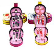 Wehous Japanese Doll Case Stainless Steel Manicure Pedicure Set Nail-Clippers Cleaner Cuticle Grooming Kit Case 6 in 1