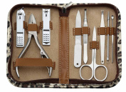 Keiby Citom Nail Clipper Set Stainless Steel Nail Tools - Manicure & Pedicure Kit of 9pcs with Leopard Zipper Case for Travel