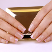 ArtPlus False Nails French Manicure Full Cover Strip of Gold Medium Length with Glue