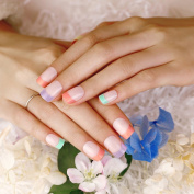 ArtPlus Rainbow Tips French Manicure Full Cover Fake Nails Medium Length with Glue