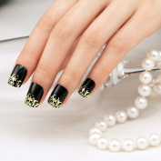 ArtPlus Metallic False Nails French Manicure Full Cover Black Gold Medium Length with Glue