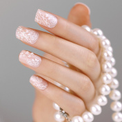 ArtPlus False Nails French Manicure Full Cover White Pearls Medium Length with Glue