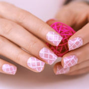 ArtPlus False Nails French Manicure Full Cover Pink White Medium Length with Glue