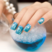 ArtPlus Metallic False Nails French Manicure Full Cover Teal Silver Cirrus Medium Length with Glue