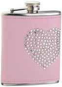 "Visol ""Dazzled Heart"" Rhinestone Leatherette Hip Flask, 180ml, Pink by Visol"