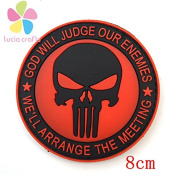 1piece 8CM Military Embroidered Patch hook and loop PVC Punisher Embroidered Badges