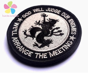 1piece 8CM hook and loop US Navy Seals Tactical Patch Skull God will judge our enemies