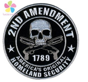 1piece 10CM 2nd Amendment Tactical Patch Skull Double-sided hook and loop