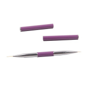 BQAN Pro Nail Art Brush 1Pc Salon and Home Using Double Head Nail Liner Brush With One Pair Of Purple Cap For Nail Art Liner Drawing 7mm#11mm