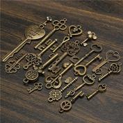 BephaMart 19Pcs Antique Vintage Old Look Skeleton Key Set Lot Pendant Heart Bow Lock Steampunk Jewel