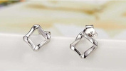 925 sterling silver earring simple square silver earring