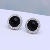 925 sterling silver black stud earring zirconia diamond round cute earrings engagement jewellery luxury women earring