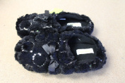 NEW WOMENS SIZE 6-7 CAPELLI BLACK SEQUIN HEARTS SLIP ON SLIPPERS HARD BOTTOM