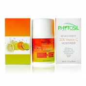 BEST Daytime Moisturiser with 20% Vitamin C, 10% Hyaluronic Acid, Plant Stem Cells, 5% Niacinamide & Peptides - Firms, Brightens Skin tone, Diminishes Lines & Wrinkles - Phytosil 50ml