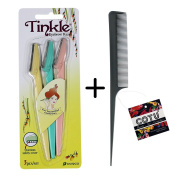 *Authentic Genuine* Tinkle Eyebrow Razor for Beautiful Eyebrows (3 pcs) + COTU (R) Rat Tail Comb