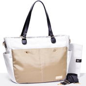 Gadikat Nappy Bag - XL Devon Collection Hudson Ivory, Complementary Changing Pad Included